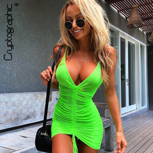 Cryptographic Fashion Spaghetti Straps Sexy Backless Deep V-Neck Dress Bodycon Summer Beach Mesh Ruched Drawstring Neon Dresses