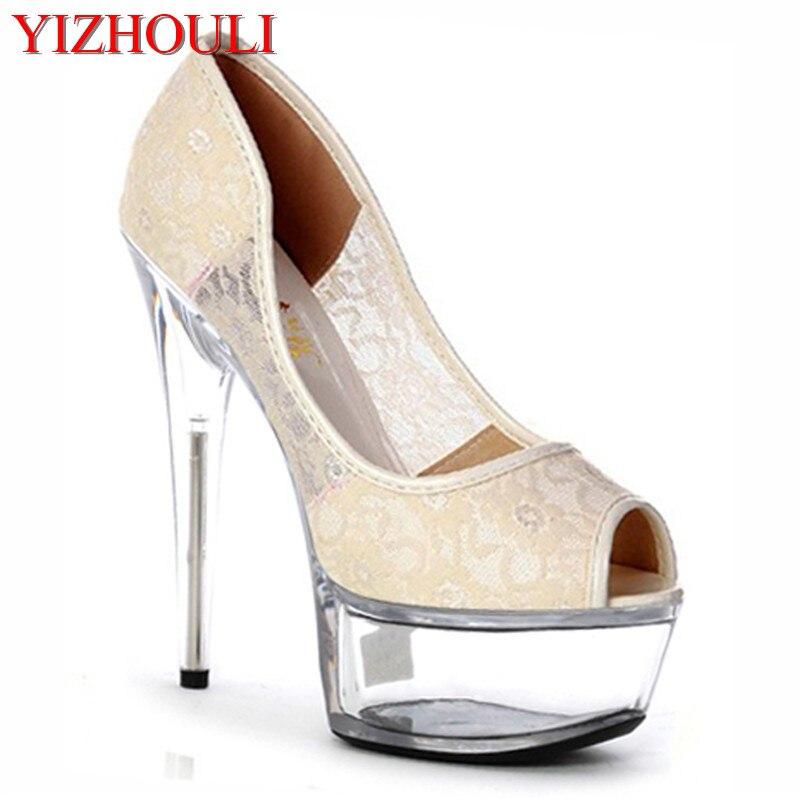 Тонкие туфли на высоком каблуке 15 см и для ночного клуба обувь с кружевными кристаллами и маленькими размерами обувь на высоком каблуке и для танцев