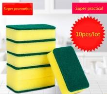 10 Unids de alta densidad esponja cocina esponja limpia frote baño mágico Limpiar Limpiar Lavar Platos Limpiador de Esponjas Herramientas de Limpieza del Hogar