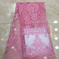 Нигерийские кружевные ткани 2019 Высококачественная розовая африканская 3d кружевная ткань с блестками для женского платья французская чист