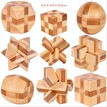 9 pcs/set 3D handmade vintage Ming lock Luban lock wooden toys adults puzzle children Christmas gift free shipping