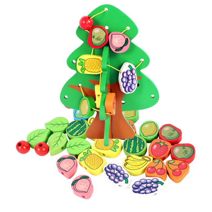 Christmas Tree Wooden Toys Strings Of Fruit Trees Puzzle Educational Toy  Happy Fruit Plant Best Gift For Children Unsex