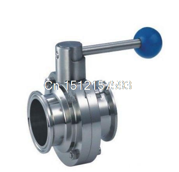 Sanitary TriClamp Butterfly Valve, size:1.5 /1/ 3/4, SS304 ,TC-Clamp ethylene propylene soft seal butterfly valve pn 1 6 dn65 manual flange valve