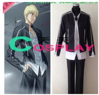 Fate//EXTRA Servant Vlad III Cosplay Costumes Blue Skirt Black Coat Free Shipping