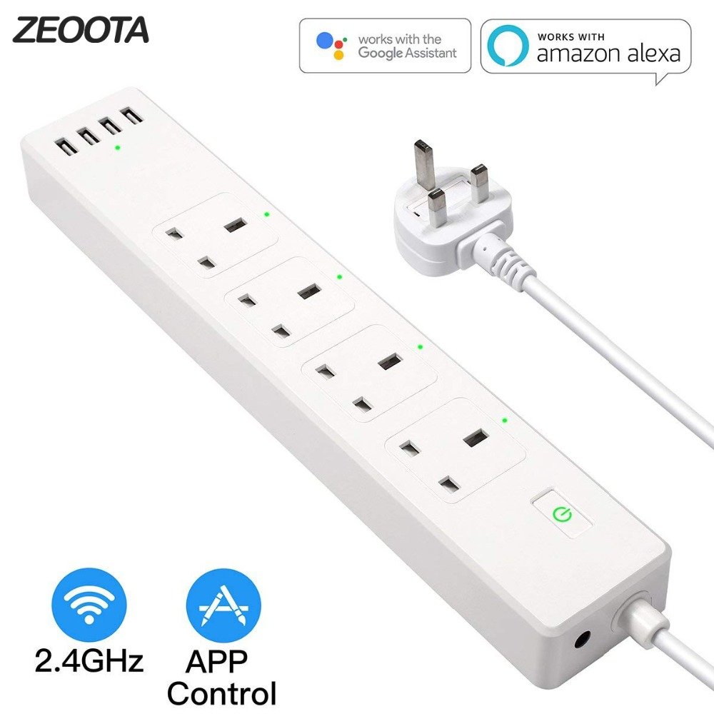 Smart Power Strip WiFi Surge Protector UK Plug Socket Outlets Homekit 6ft Extension Cord for Alexa