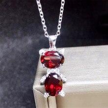 Медведь стиль ожерелье натуральной Гранат 925 серебро Fine jewelry 1.5ct* 2 шт. драгоценных камней# T18100401