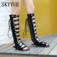2018 New Genuine Leather Gladiator Metal Deco Sandals Sexy Open Toe Lace Up Ladies Women Pumps Shoes Women
