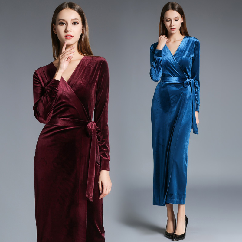 c857f9993123 Free Shipping Bandage Plus Size S XL Velour Dresses For Women Long Maxi One  piece Dress Spring Autumn Velvet V neck Sexy Dresses-in Dresses from  Women's ...