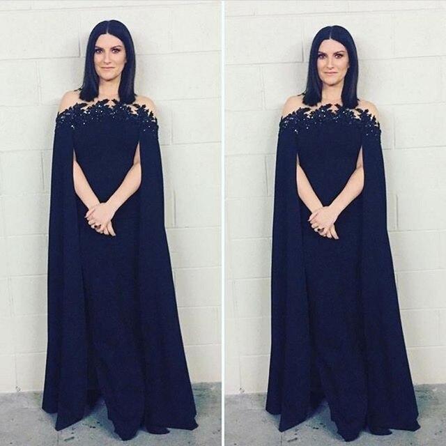 Fashion Evening Dresses Long Satin Lace Appliques Sequin Cape Formal  Evening Gowns Party Dress A Line 2017 Pleat Robe De Soiree a39c0c64bf8d
