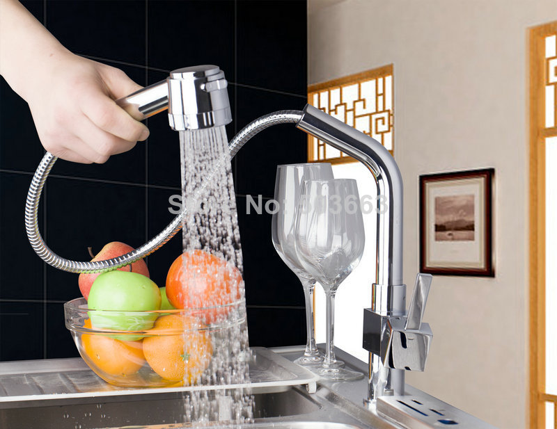 Monite New Pull Out Kitchen Bathroom Sink Tap Spray Swivel One Handle 8530 Torneira Cozinha Vessel