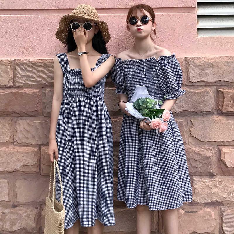 2 стиля (Slash шеи, спагетти) зонтик платье 2019 Лето линия плед миди платье Женский на бретелях без рукавов расклешенное платье