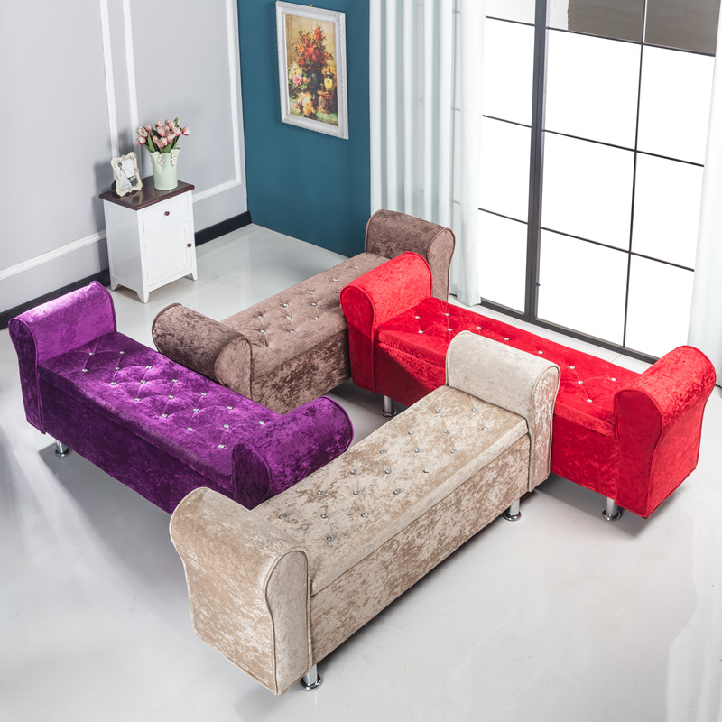 Multifunctional Storage Stool Chair Bedroom Bed End Stool Storage Bench Fabric Shoe Bench Household Sofa Bench Pouf Taburete