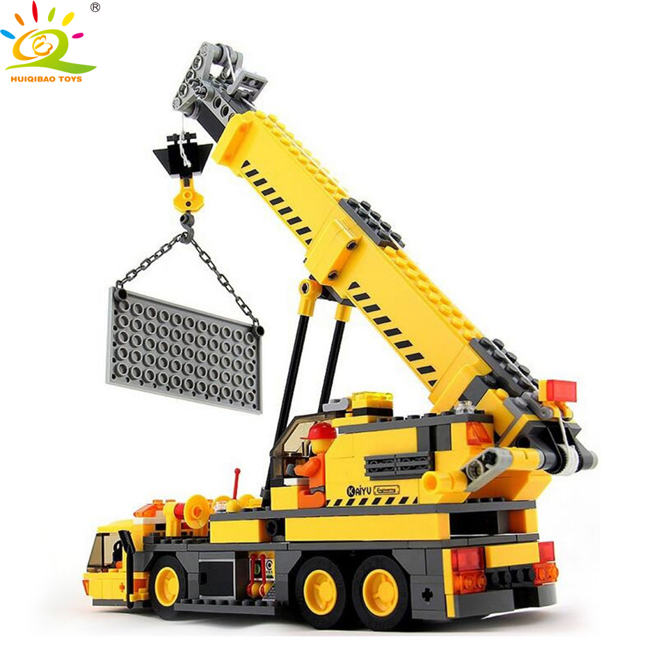 380pcs City Engineering Building Blocks DIY Crane Sets Education Toys For Children Compatible Legoed Technic Enlighten Bricks engineering excavator vehicles bulldozer model building blocks compatible legoed city construction enlighten bricks children toy