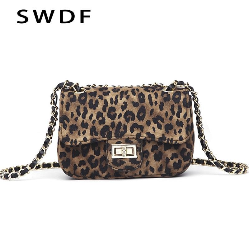 SWDF Women Handbag Lock Leopard Small Square Bag Women Chain Shoulder Messenger Bag Luxury Evening Bag Clutch Mobile Phone Bags