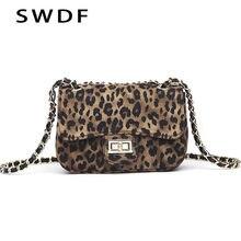 46a064f7a SWDF женская сумка с замком леопардовая маленькая квадратная сумка женская  цепочка на плечо сумка-мессенджер