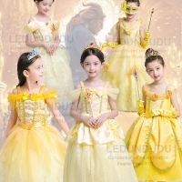 Hot Beauty And The Beast Cosplay Costume Girls Gorgeous Princess Dress Children Fancy Halloween Clothes Belle