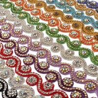 Новинка 2017 года ручной Вышивание Стекло Rhineston отделкой Ribbon DIY свадебное платье украшение стразами Costura шириной 3.3 см двор AB Ясно Камень
