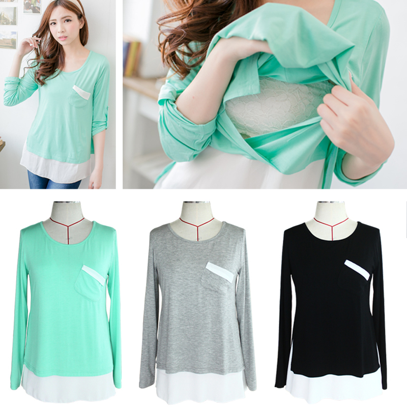 Nursing Tops Maternity shirt Breastfeeding Clothes...