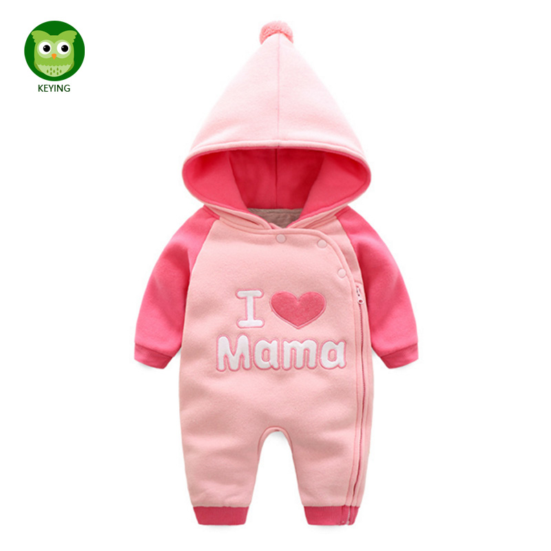 KEYING Bebes Cotton Baby Rompers Newborn Long Sleeve Underwear Hooded Kids Jumpsuit 2017 Winter New Baby Boy Girl Clothes