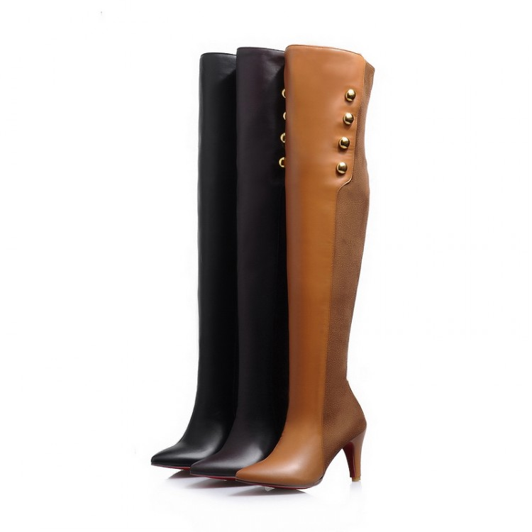 ФОТО 2017 Rushed New Winter Boots Botas Mujer Big Size 34-45 High Heels Autumn Winter Shoes For Women Sexy Casual Women's Boots 1-12
