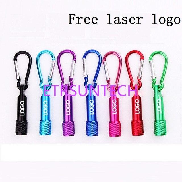 500 pièces/lot Mini 1 LED lampe de poche mousqueton torche porte clés Camping lampe randonnée crochet porte clés Flash lumière laser gratuit logo