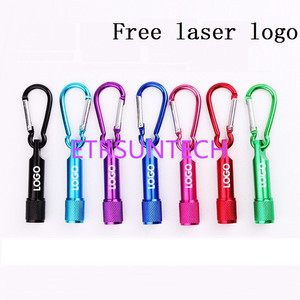 Image 1 - 500pcs/lot Mini 1 LED Flashlight Carabiner Torch Clip Keychain Camping Lamp Hiking Hook Key Chain Flash light Free laser logo