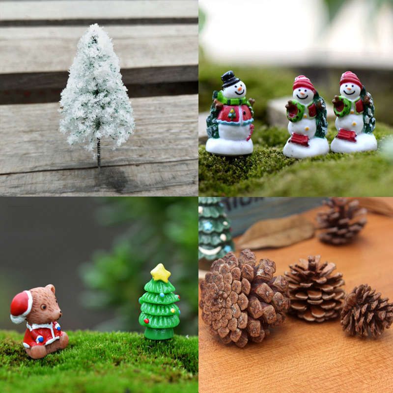 mini christmas figurines tree santa claus terrarium landscape decoration diy fairy garden. Black Bedroom Furniture Sets. Home Design Ideas