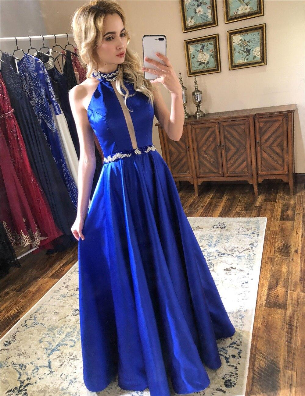 Neue Mode Prom Kleider Satin A-Line Halfter Backless Prickelnde Prom ...