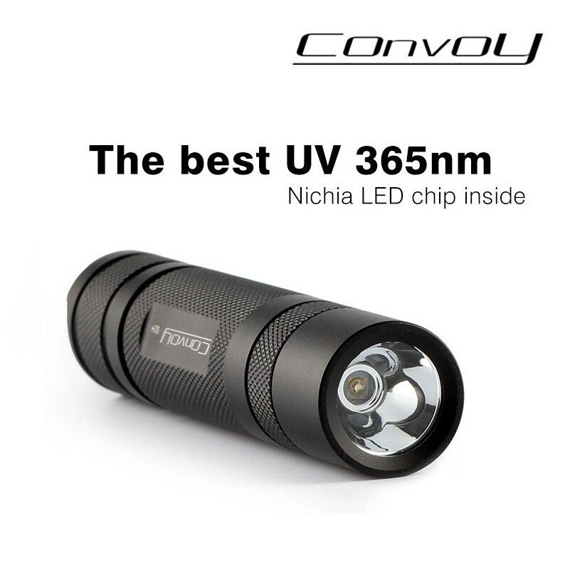 Конвой S2 + UV LED 365nm УФ фонарик ультрафиолетовый фонарик, nichia 365UV в сторону для флуоресцентных агентов обнаружения-черный