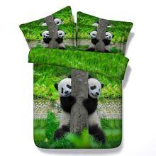 Комплект постельного белья с 3d принтом животных панда/кошка/белого