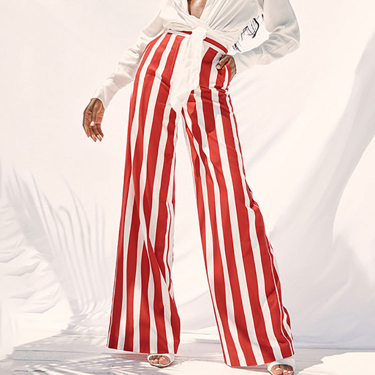 Women's Laides Striped Hip Hop Style Full Length High Waist Loose Wide Leg   Pants     Capris