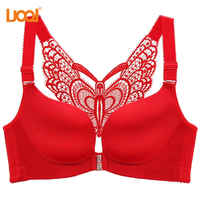 Bra Front Closure Push Up No Wire Sexy Bralette Hollow Back Lace Wireless Bras For Women