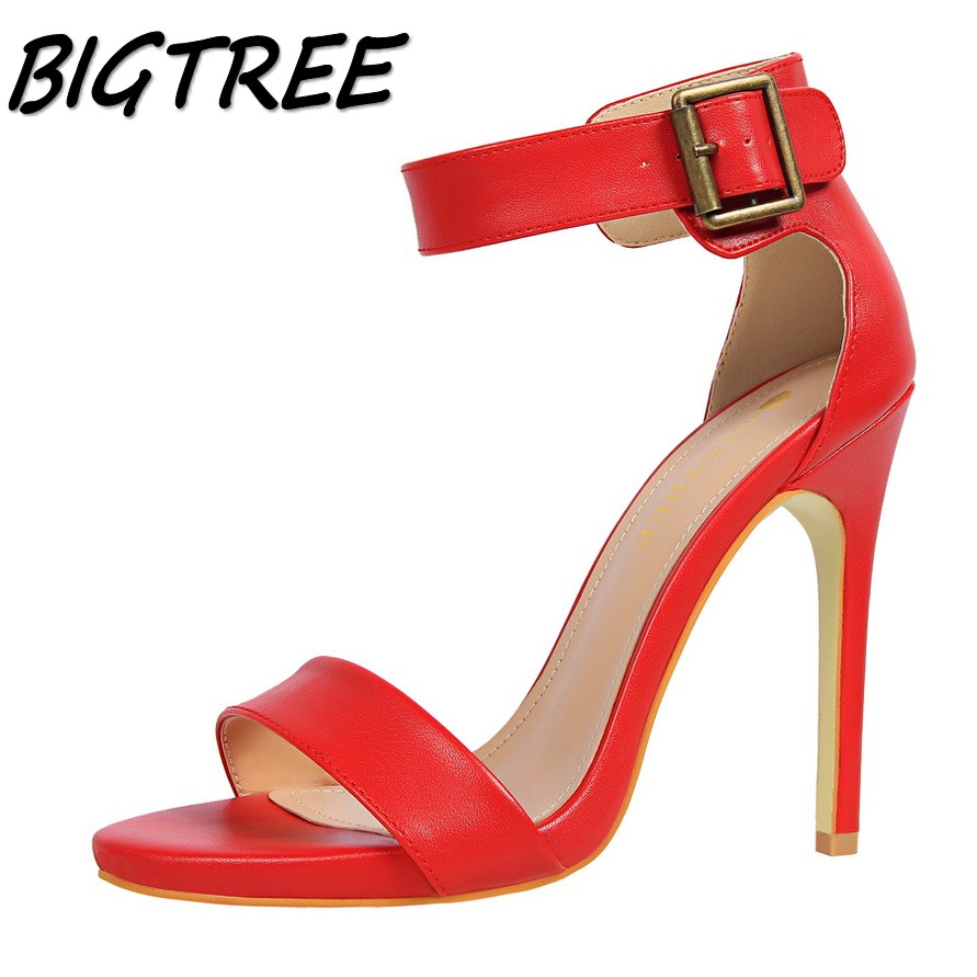 BIGTREE new women pumps high heels shoes sandals woman Fashion Open toe party wedding Buckle Strap stilettos sandals 34-39 pair of vintage delicate round faux gem drop earrings for women