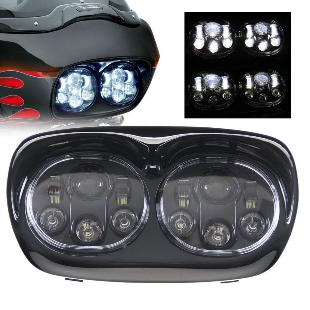 Daymaker Dual LED Headlight For Harley Davidson Road Glide 2004 2013 5.75 HID