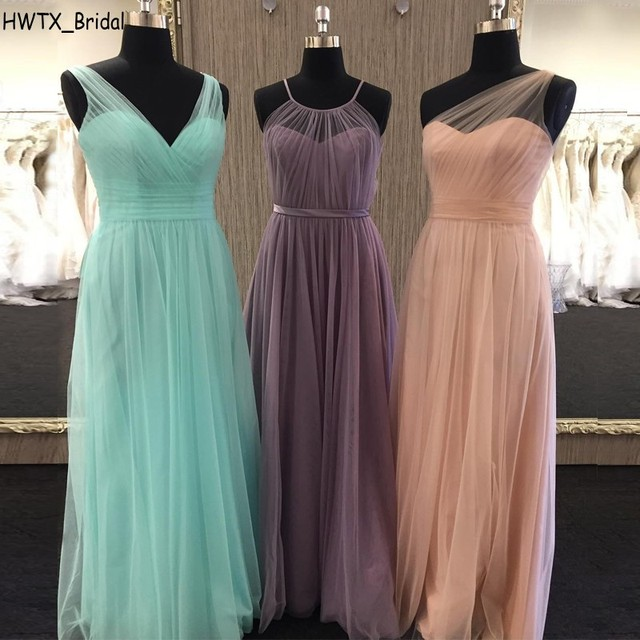 76fef3a943 2018 Elegant Long Bridesmaid Dresses For Wedding Party Cheap Simple One  Shoulder A Line Floor Length Tulle Women Prom Dress