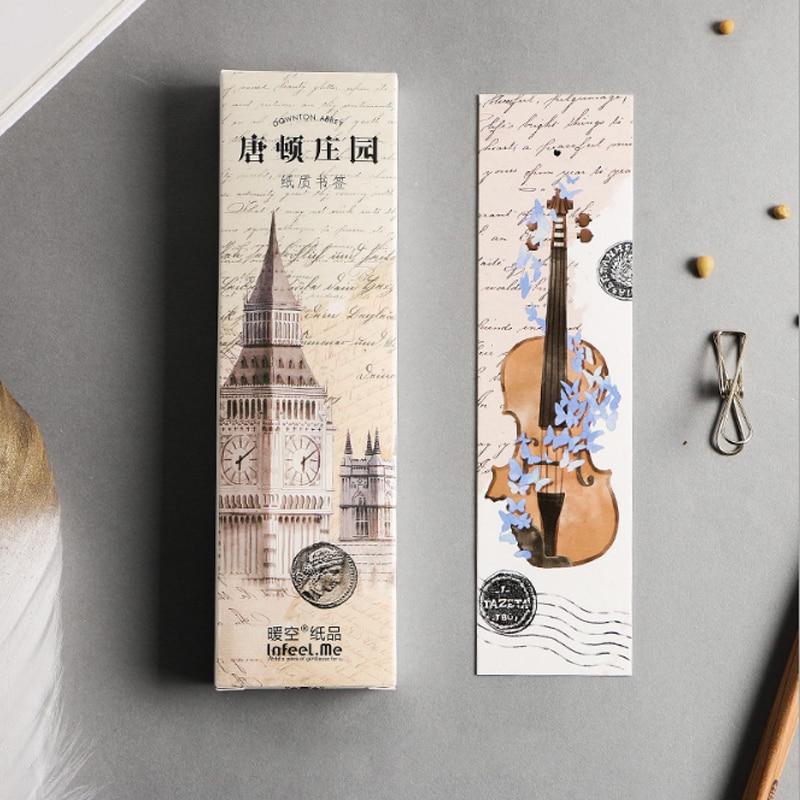 30pcs/box Creative Beautiful Manor Bookmark Kawaii Stationery Bookmarks Cartoon Gift School Label Supplies Papelaria