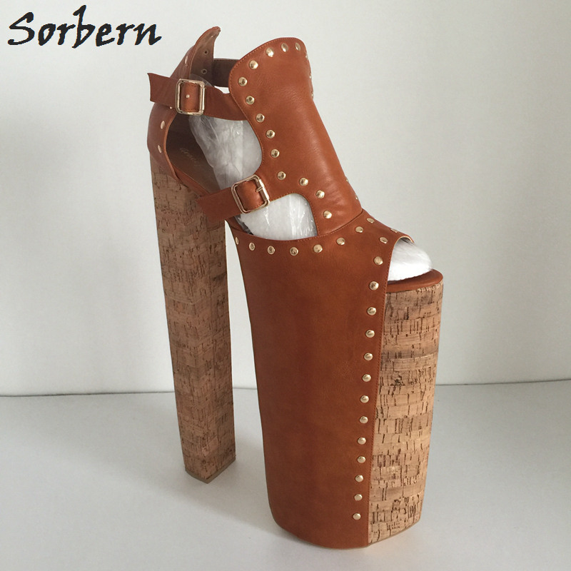 Sorbern Brown Over 30Cm Chunky High Heel Pumps Women Us15 Open Toe Pumps Women Shoes Display Shoe Shows Runway Heels Diy Color цена