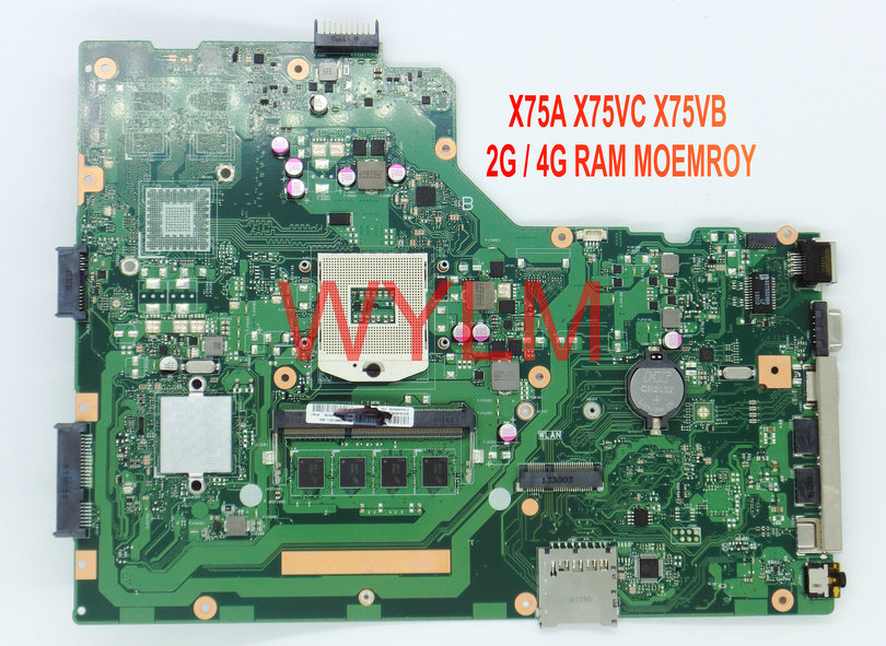 free shipping NEW brand original X75A X75VC X75VB  motherboard MAIN BOARD WITH 2G / 4G RAM MEMORY 100% Tested Working Well 100% original motherboard for nikon d600 mainboard d600 main board dslr camera repair parts free shipping