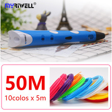 myriwell 3d pen rp 100a 1.75mm abs filamen pla 3d printed pen 3 d pen Smart kids birthday gift abs plastic 3D handle 3 D  handle