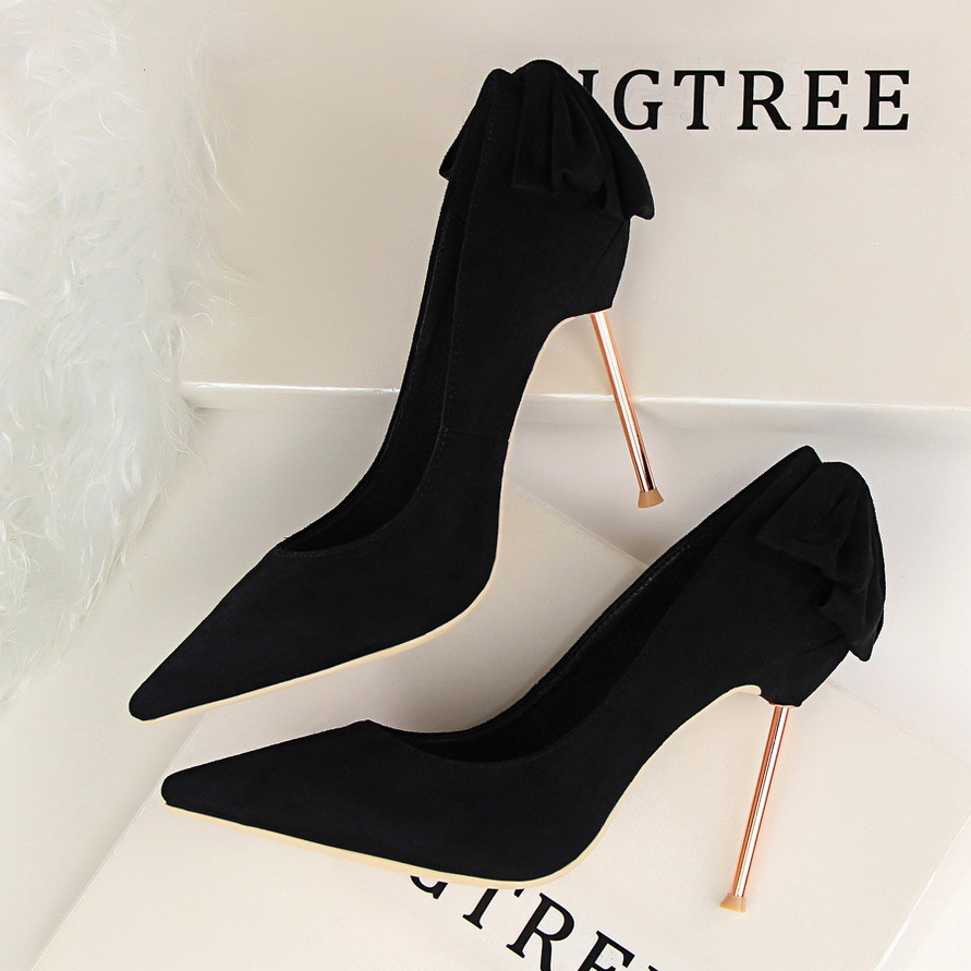 New Spring Summer Elegant Pumps Fashion Sexy Slim Thin Metal Heel Shallow Mouth Pointed Sweet Bow Suede High-heeled Shoes G395-2 2017 the new european american fashion horn bow pointed mouth shallow comfortable flat sheet metal red shoes tide size 35 41