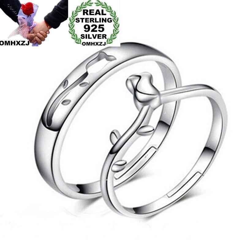 OMHXZJ ขายส่งยุโรปผู้หญิงผู้หญิงแฟชั่นผู้หญิงงานแต่งงานของขวัญเงิน Rose Hollow ปรับขนาดได้ 925 เงินสเตอร์ลิงแหวน RR252
