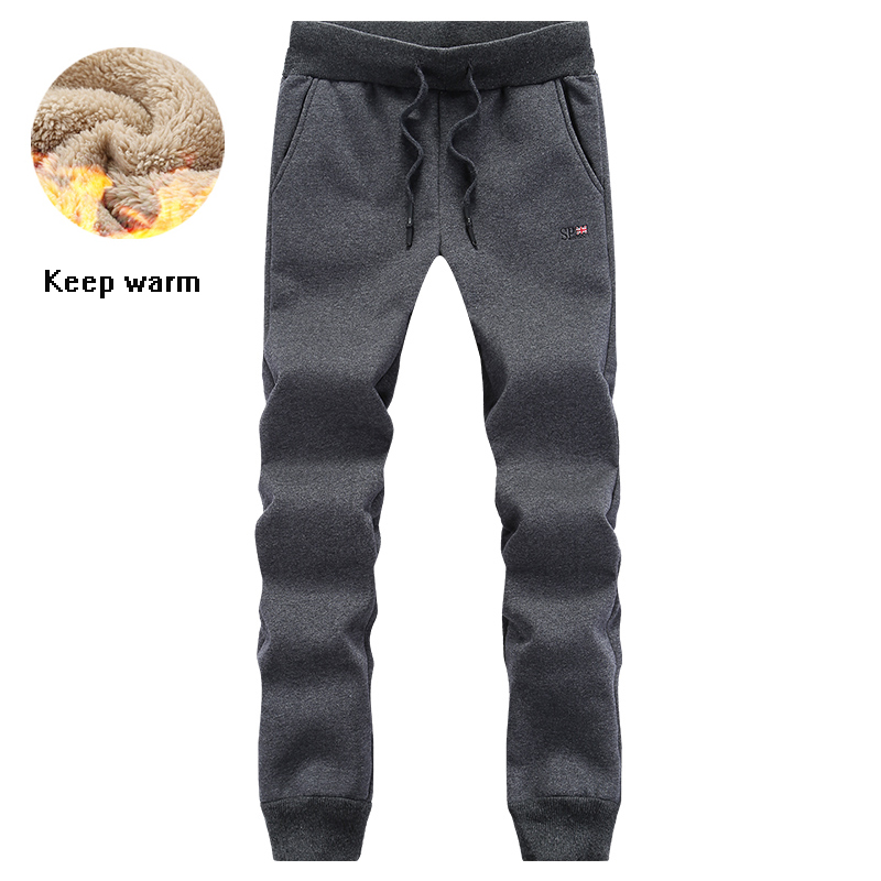 Warm Sweatpants Men Winter Workout Gym Pant 135kg Can Wear Big Size Sport Trousers Fleece Lining Thermal Running Fitness Pants
