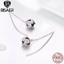 BISAER Flower Earrings 925 Sterling Silver Rose Flower Tulip Crystal Zircon Stud Earrings for Women Silver Jewelry ECE504