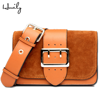 HMILY Crossbody Bag Female Genuine Leather Women Shoulder Bag Trendy Mini Shopping Bag Candy Color Messenger Bag Female