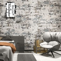 Vintage Scrawl Cement Washable 3d Brick Wallpaper Rolls For Cafe Bar Background 3d Wall Wallpaper Murals