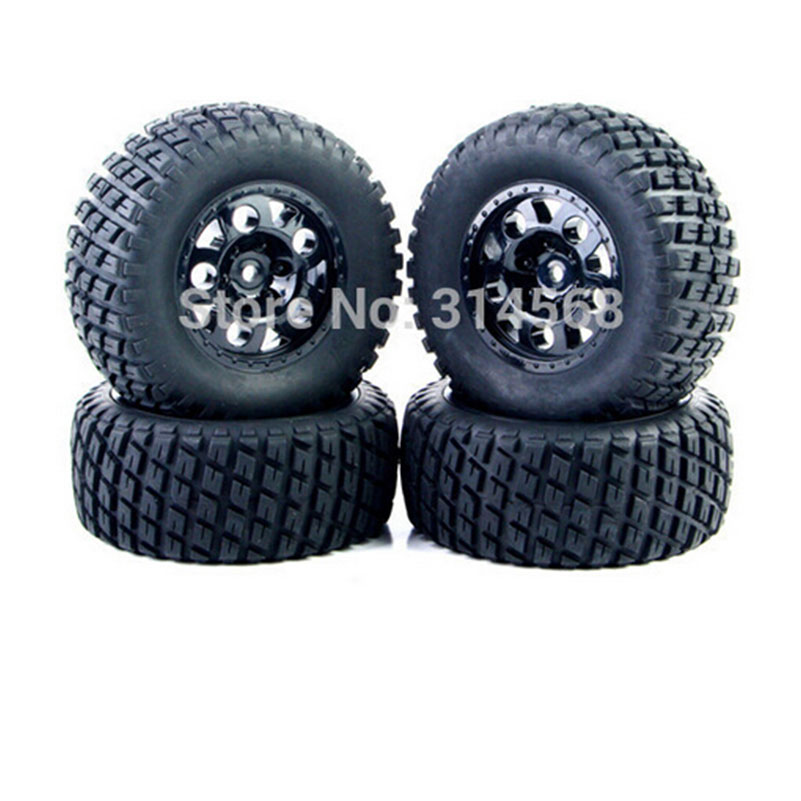 все цены на  4 PCS/Set  RC 1:10 Short Course Truck Tires Set Tyre Wheel Rim For TRAXXAS SlASH HPI Remote Control Toy Car Model Toy Parts G  онлайн