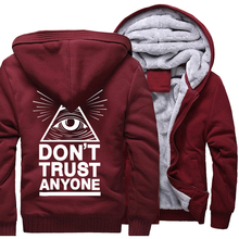 New Thick Hoody For Male 2017 Winter Warm Sweatshirt With Hat Print Dont Trust Anyone Illuminati All Seeing Eye Harajuku Hoodies