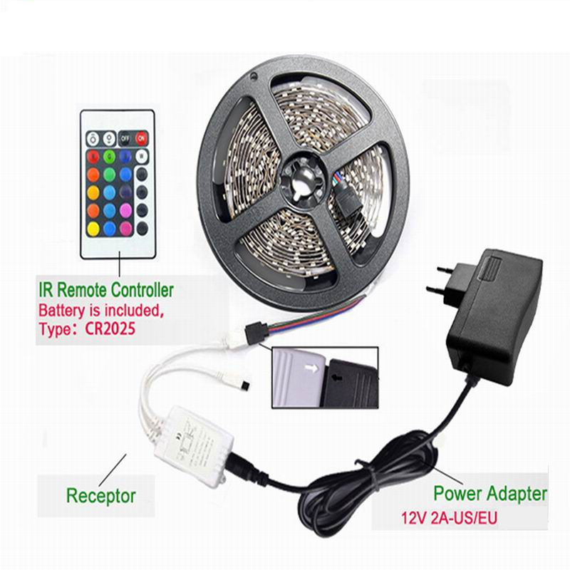 Chiclits RGB LED Strip Light 2835 SMD 5M 300LEDs IP20IP65 Flexible Light Tape With IR Remote Controller 12V 2A Power Adapter (9)