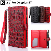 K Try For Oneplus 5t Wallet Case Luxury Crocodile Pu Leather With Silicone Flip Cover Case