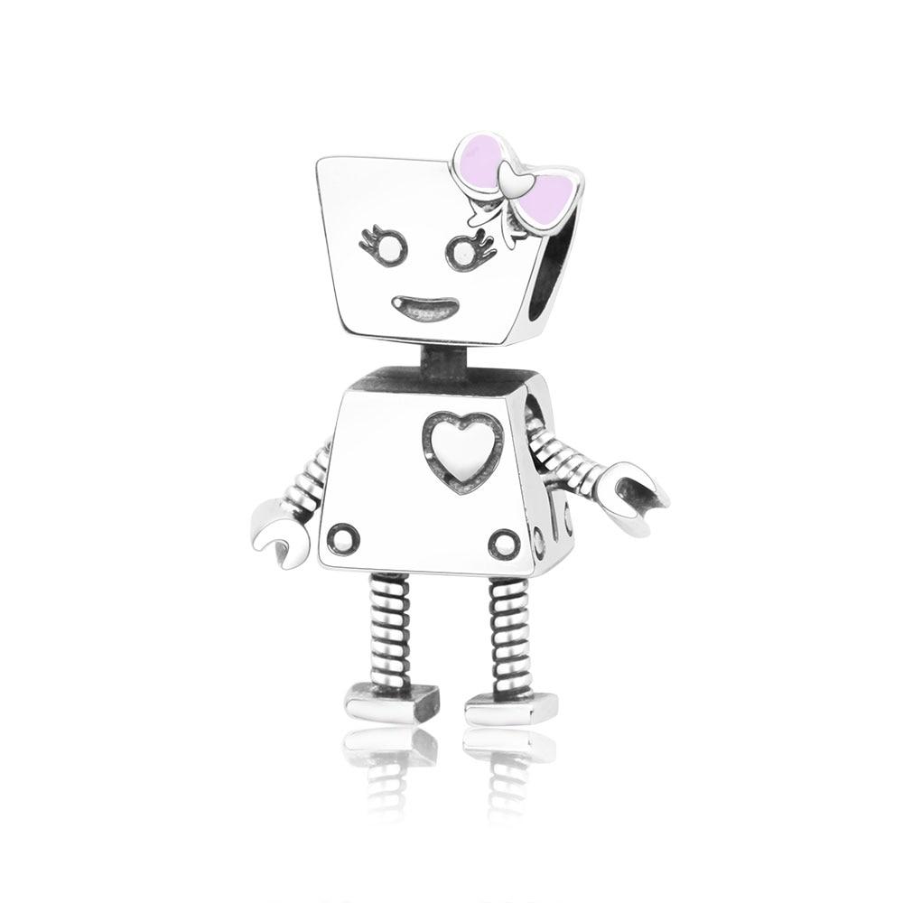 100% 925 Sterling Silver Cute Robot Girl Bella Bot Charm Fits Original Pandora Charms Bracelet Bead DIY Jewelry Making berloque lacywear костюм vokd 13 bot